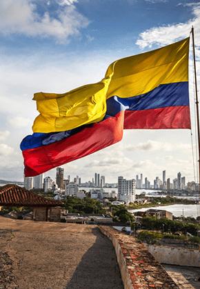 Bandera de Colombia en Cartagena de Indias